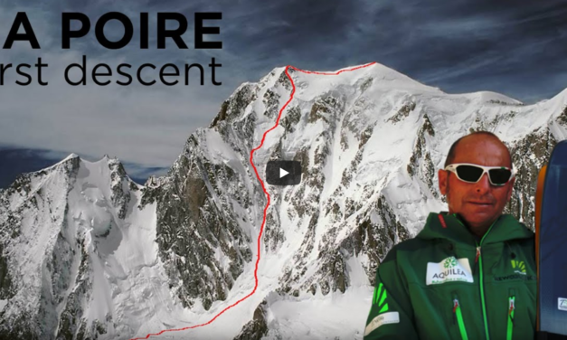 1r descens amb esquís de La Poire, Peuterey, Mont Blanc, per Edmond Joyeusaz